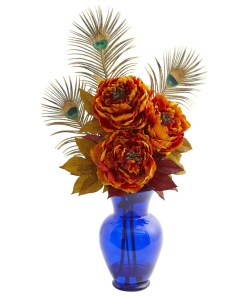 Nearly Natural 1565-OR Peony in Blue Vase Artificial Arrangement