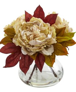 Nearly Natural 1580-CR Peony Artificial Arrangement