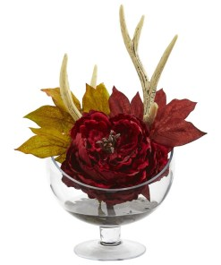Nearly Natural 1624-RD Peony Artificial Arrangement in Pedestal Glass Vase