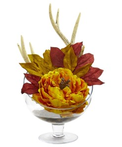 Nearly Natural 1624-YL Peony Artificial Arrangement in Pedestal Glass Vase