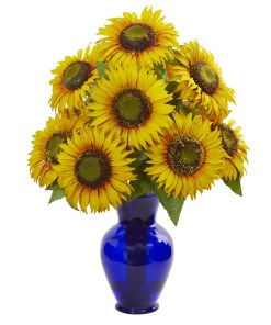 Nearly Natural 1786 Sunflower Artificial Arrangement in Blue Garden Vase