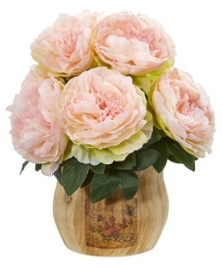 Nearly Natural 1800-PK Peony Artificial Arrangement in Decorative Planter