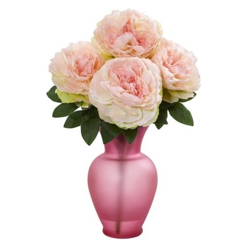 Nearly Natural 1803-PK Peony Artificial Arrangement in Rose Garden Vase