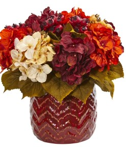 Nearly Natural 1809 Hydrangea Berry Artificial Arrangement in Red Vase