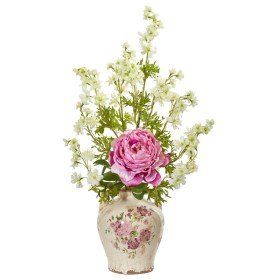 Nearly Natural 1856-PK Peony and Dancing Daisy Artificial Arrangement