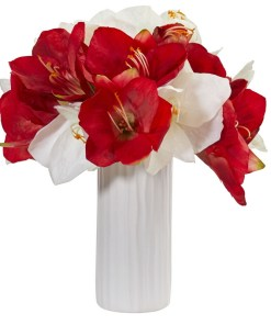 Nearly Natural 1860-AS Amaryllis Artificial Arrangement in White Vase
