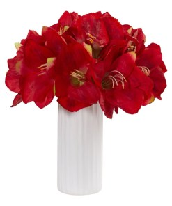Nearly Natural 1860-RD Amaryllis Artificial Arrangement in White Vase