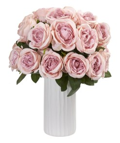 Nearly Natural 1861-PK Rose Artificial Arrangement in White Vase