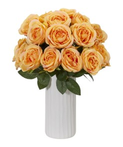 Nearly Natural 1861-YL Rose Artificial Arrangement in White Vase