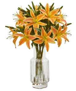 Nearly Natural 1868-OG Lilly Artificial Arrangement in Glass Vase