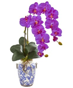 """Nearly Natural 1869-OR 31"""" Phalaenopsis Orchid Artificial Arrangement in Weathered Ocean Vase"""