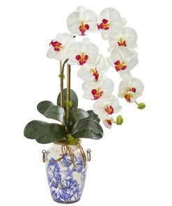 """Nearly Natural 1869-WH 31"""" Phalaenopsis Orchid Artificial Arrangement in Weathered Ocean Vase"""