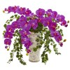 Nearly Natural 1870-OR Phalaenopsis Orchid and Ivy Artificial Arrangement  in Urn