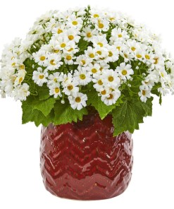 Nearly Natural 1875-WH Daisy Artificial Arrangement in Red Planter
