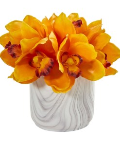 Nearly Natural 1877-OG Cymbidium Orchid Artificial Arrangement in Marble Vase
