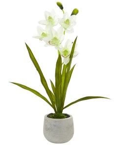 Nearly Natural 4298 Cymbidium Orchid Artificial Arrangement in Vase