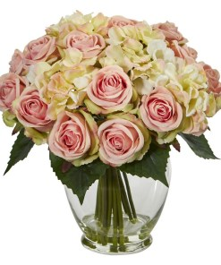 Nearly Natural 1837 Rose and Hydrangea Bouquet Artificial Arrangement