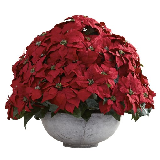 Nearly Natural 1345 Giant Poinsettia Arrangement w/Decorative Planter