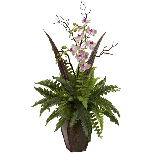 Nearly Natural 1365 Fern & Orchid Arrangement