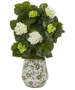 "Nearly Natural 9419 35"" Hydrangea Artificial Plant in Decorative Vase"