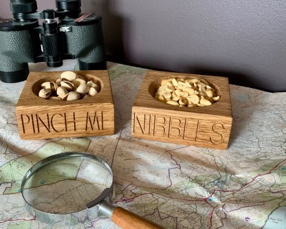 nuts or nibbles dish handcrafted in solid oak engraved on the front edge, great personalised oak gifts