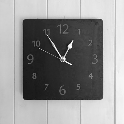 square welsh grey slate clock engraved with a full face of numbers