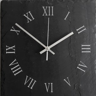 square welsh grey slate with an engraved clock face of roman numerals