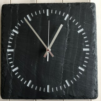 square welsh grey slate engraved with a clock face in a speedo dial style