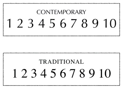 examples of contemporary and traditional style fonts with the numbers for each ranging from 1-10. choice of numbers used for engraving slate house signs