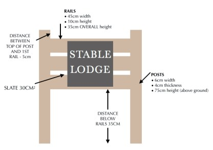 drawing of a slate and oak ground fixed house sign detailing all measurements of the product