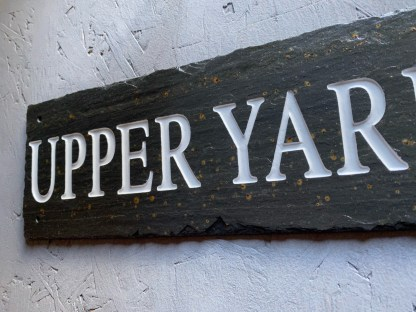 slate stable sign with engraved text upper yard