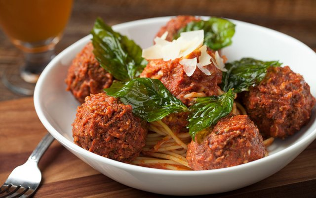 Slater's Spaghetti + Bacon Meatballs