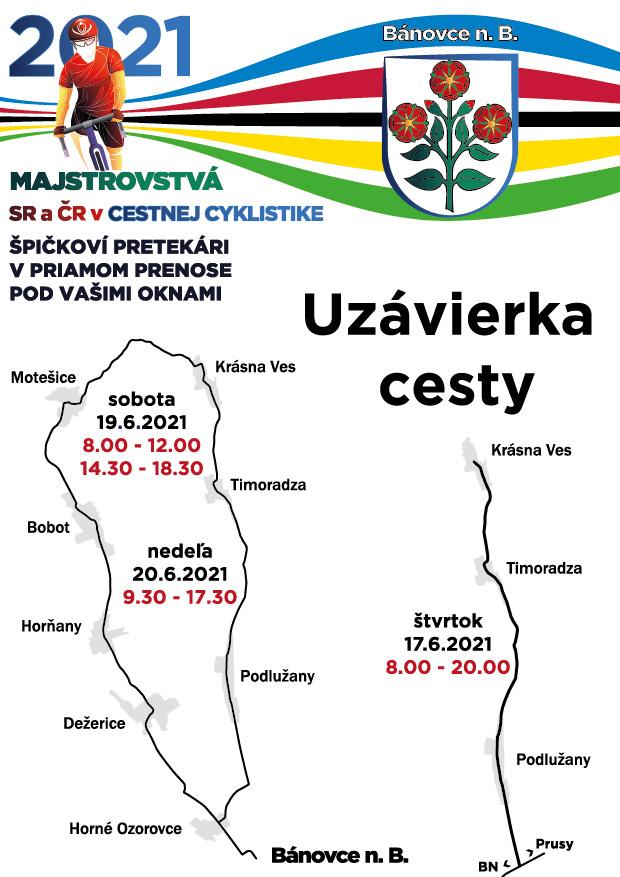 mapa_uzavierka obci majstrovstvá SR a ČR v cestnej cyklistike 2021
