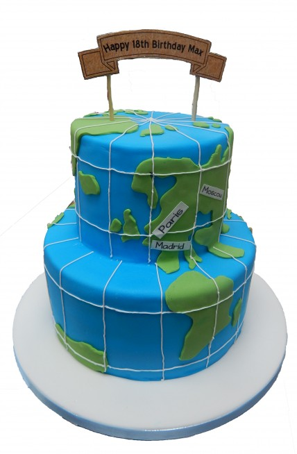 Tiered World Map Cake