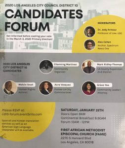 Los Angeles District 10 City Council Candidate Forum @ First African Methodist Episcopal Church (FAME)