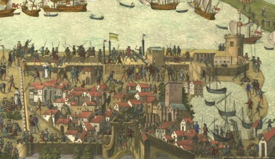 Portsmouth - detail from end 16th century engraving