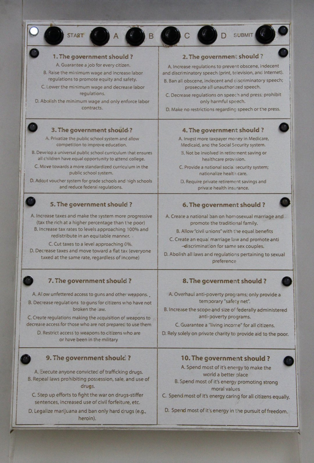 Close up of the questionnaire