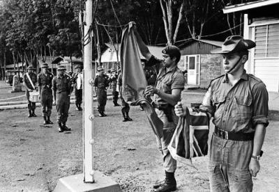 4RAR and Royal New Zealand Infantry Regiment Flags Lowered For The Last Time