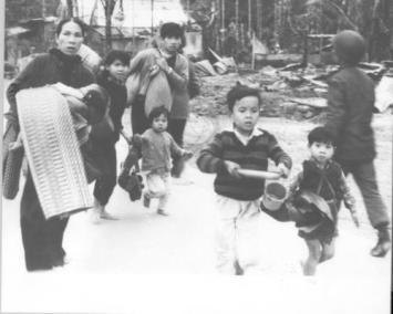 Civilians Run to Escape Enemy Fire