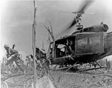Soldiers Delivered to Battle via UH-1 Helicopter