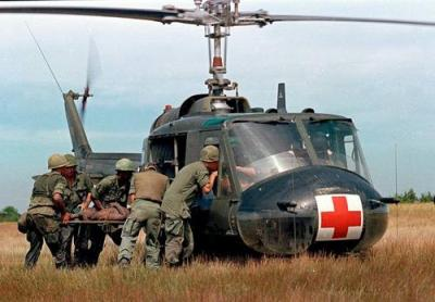 Wounded Member of the 1st Platoon Gets Loaded Onto Helicopter
