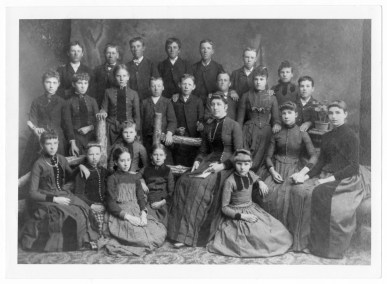 Newton School class picture. Luella Parkinson, teacher, 1888