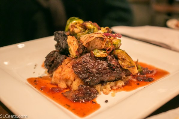 Balsamic braised short ribs with tarragon demi-sauce