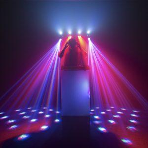 dj dancing lights projected on dancefloor