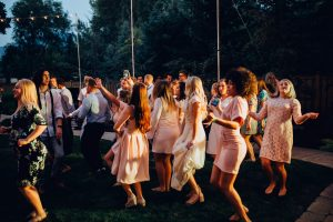 group of people dancing at utah wedding