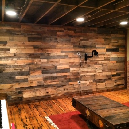 Easy Install Pallet Wood Wall   Sustainable Lumber Company     wood prefab pallet panels recycled pallet accent wall