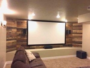 rustic basement theater room pallet wall