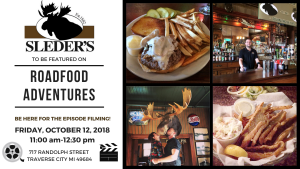 Event Invite to Roadfood Adventures Filming at Sleders October 12, 2018 at 11:10 am
