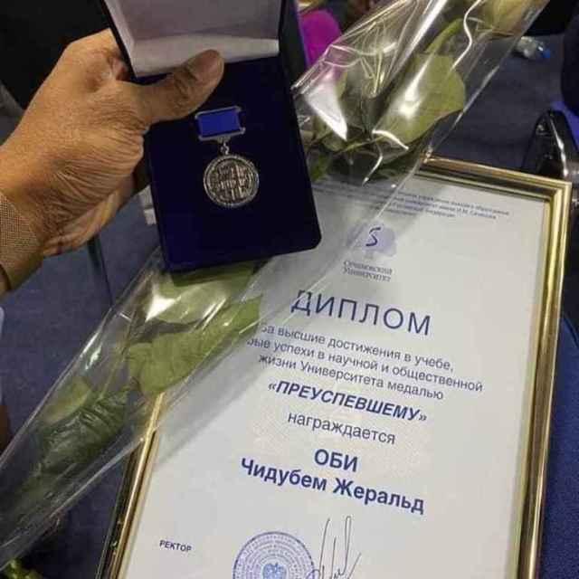 Dr Chibudem Obi Gerald, Best Graduating student, Russia, University, Award,