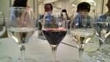 We got white wine, red wine, and water.